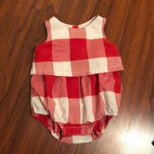 Red and white gingham onesie